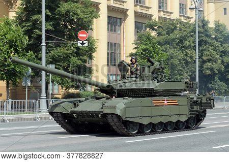 Moscow, Russia - June 24, 2020:russian Main Tank T-90m (breakthrough-3) On Mokhovaya Street In Mosco
