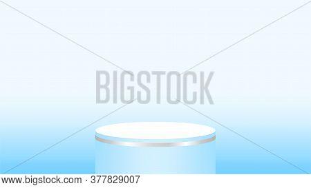 3d Light Blue Pedestal Cylinder Circle For Cosmetics Showcase, Podium Blue Pastel Soft Color, Podium