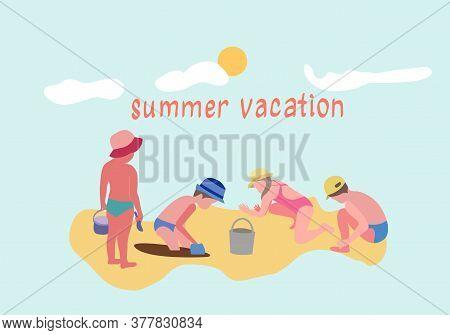 Vector Hand-drawn Set Illustration Of Children Active Beach Vacation. Summertime Sand Beach Vacation