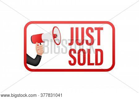 Red Label Just Sold On White Background. Vector Illustration.