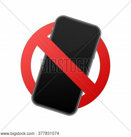 Mobile Phone Prohibited. No Cell Phone Sign. Vector Stock Illustration.