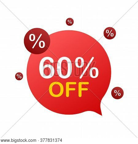 60 Percent Off Sale Discount Banner. Discount Offer Price Tag. 60 Percent Discount Promotion Flat Ic