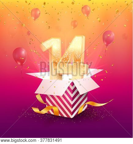 14 Th Years Anniversary Vector Design Element. Isolated Forteen Years Jubilee With Gift Box, Balloon