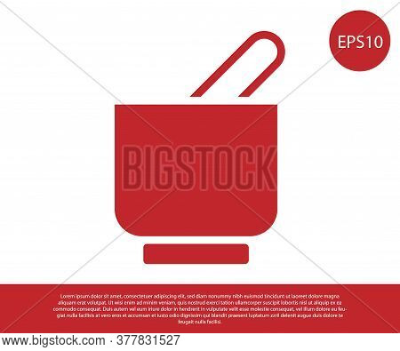 Red Mortar And Pestle Icon Isolated On White Background. Vector