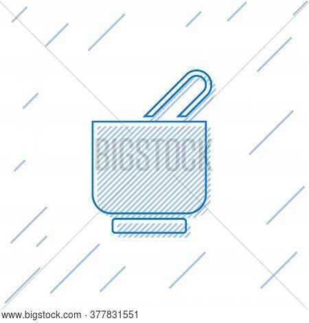 Blue Line Mortar And Pestle Icon Isolated On White Background. Vector