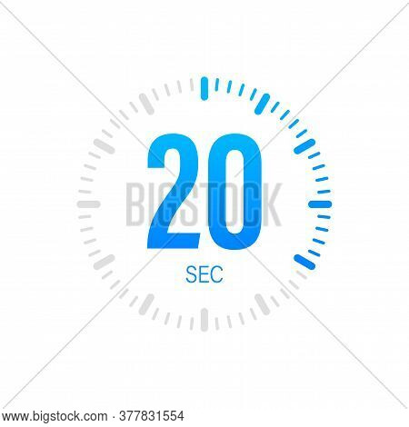 The 20 Second, Timer, Stopwatch Vector Icon. Stopwatch Icon In Flat Style. Vector Stock Illustration