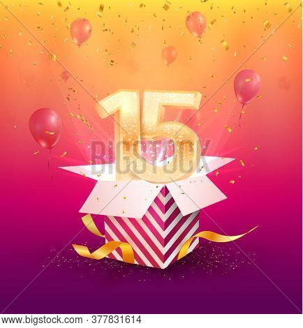 15 Years Anniversary Vector Banner Template. Fifteen Years Jubilee With Balloons And Confetti On A B