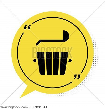 Black Sauna Bucket And Ladle Icon Isolated On White Background. Yellow Speech Bubble Symbol. Vector