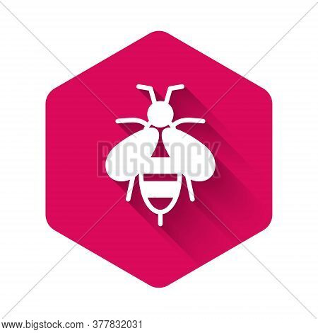 White Bee Icon Isolated With Long Shadow. Sweet Natural Food. Honeybee Or Apis With Wings Symbol. Fl