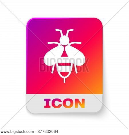 White Bee Icon Isolated On White Background. Sweet Natural Food. Honeybee Or Apis With Wings Symbol.