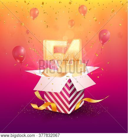 54th Years Anniversary Vector Design Element. Isolated Fifty-four Years Jubilee With Gift Box, Ballo