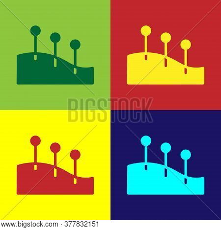 Pop Art Acupuncture Therapy Icon Isolated On Color Background. Chinese Medicine. Holistic Pain Manag