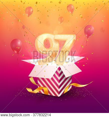 97th Years Anniversary Vector Design Element. Isolated Ninety-seven Years Jubilee With Gift Box, Bal
