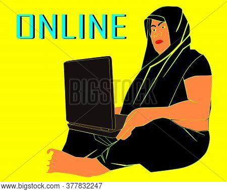 An Indian Village Cartoon Woman Working Online On Computer Wearing Black Sari Illustration Art.