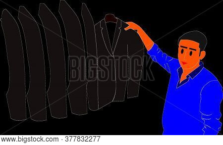 A Cartoon Salesmen Presenting Suits On Garment Store For Sale Isolated Illustration Art.