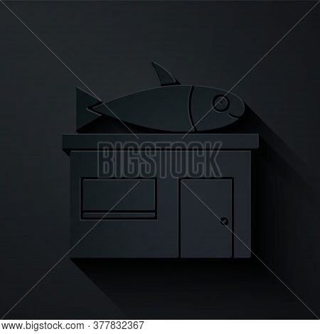 Paper Cut Seafood Store Icon Isolated On Black Background. Facade Of Seafood Market. Paper Art Style