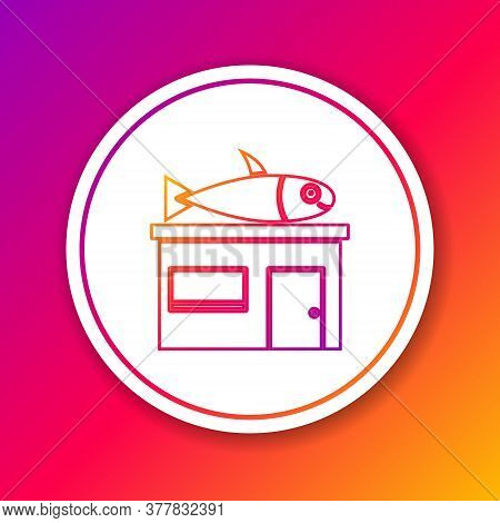 Color Line Seafood Store Icon Isolated On Color Background. Facade Of Seafood Market. Circle White B