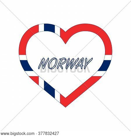 Norway Flag In Heart. I Love My Country. Sign. Stock Vector Illustration Isolated On White Backgroun