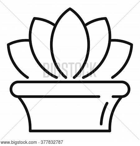 Ayurveda Plant Pot Icon. Outline Ayurveda Plant Pot Vector Icon For Web Design Isolated On White Bac