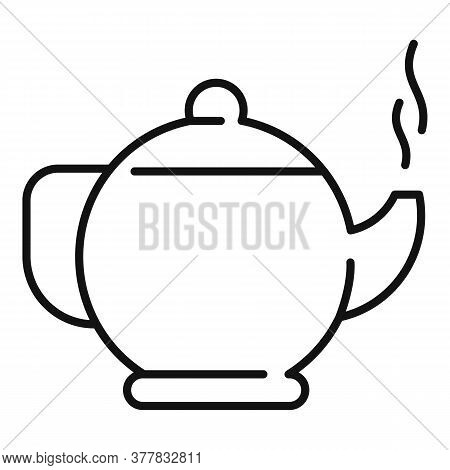 Ayurveda Tea Pot Icon. Outline Ayurveda Tea Pot Vector Icon For Web Design Isolated On White Backgro