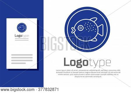 Blue Puffer Fish On A Plate Icon Isolated On White Background. Fugu Fish Japanese Puffer Fish. Logo