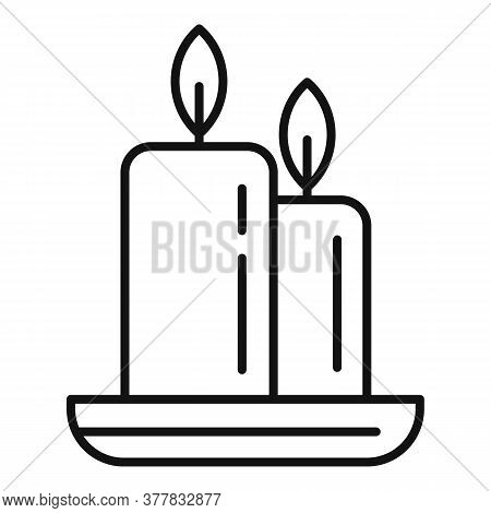Spa Burning Candle Icon. Outline Spa Burning Candle Vector Icon For Web Design Isolated On White Bac
