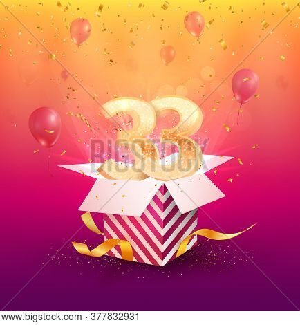 33 Th Years Anniversary Vector Design Element. Isolated Thirty-three Years Jubilee With Gift Box, Ba