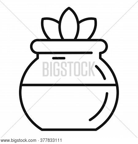 Jar Herbal Plants Icon. Outline Jar Herbal Plants Vector Icon For Web Design Isolated On White Backg
