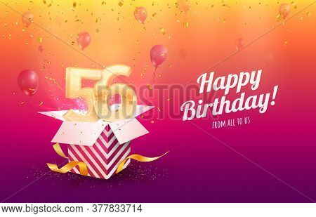 Celebrating 56th Years Birthday Vector Illustration. Fifty-six Anniversary Celebration Background. A