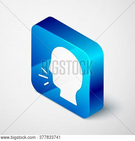 Isometric Man Coughing Icon Isolated On Grey Background. Viral Infection, Influenza, Flu, Cold Sympt