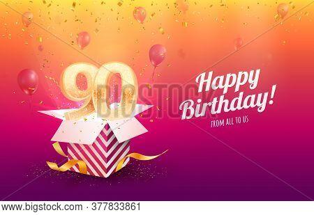 Celebrating 90th Years Birthday Vector Illustration. Ninety Anniversary Celebration Background. Adul