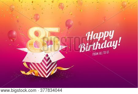 Celebrating 85th Years Birthday Vector Illustration. Eighty-five Anniversary Celebration Background.