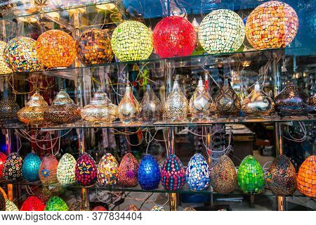 Street shop with  colorful  chandeliers lights in   Hurghada, Egypt.
