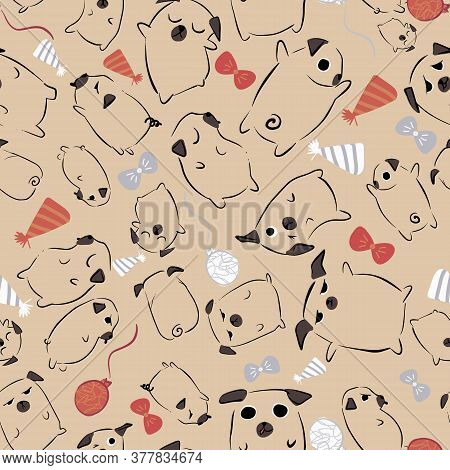 Pug Dog Bow Tie Party Hat Balloon Seamless Pattern. Great For Birthday, Party, Gift Wrapping, Wallpa
