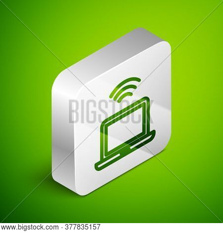 Isometric Line Wireless Laptop Icon Isolated On Green Background. Internet Of Things Concept With Wi