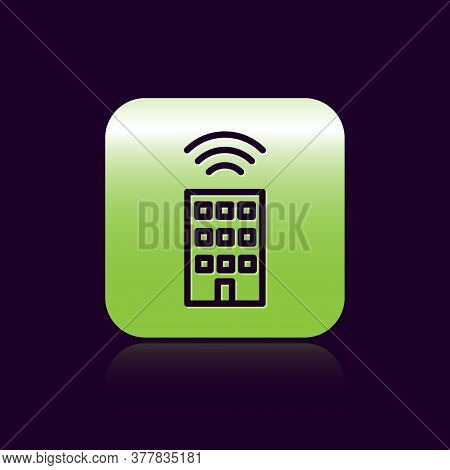 Black Line Smart Home With Wireless Icon Isolated On Black Background. Remote Control. Internet Of T