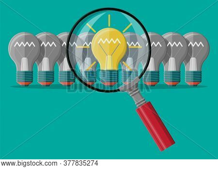 Bright Light Idea Bulb Under Magnifying Glass. Uniqueness, Individuality, Differently Standing Out F
