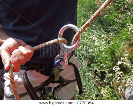 A Climber Belays Another Climber