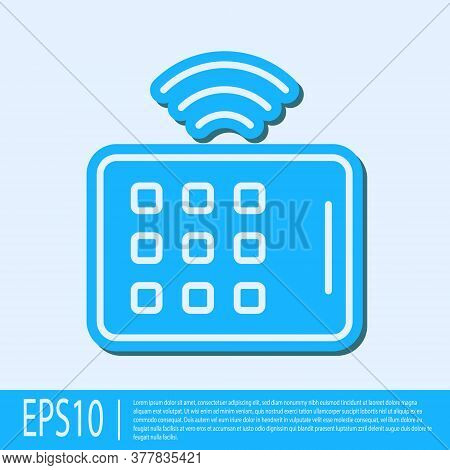 Blue Line Wireless Tablet Icon Isolated On Grey Background. Internet Of Things Concept With Wireless