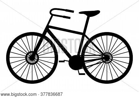 Classic Man Bike Black Silhouette Vector Illustration Isolated On White Background. Mountain Bicycle