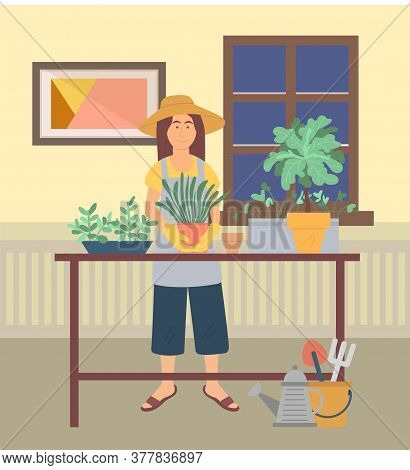 Hobby Of Woman At Home Vector, Lady Gardening Growing Flowers In House. Pastime Of Character With In