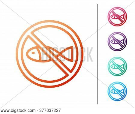 Red Line No Fishing Icon Isolated On White Background. Prohibition Sign. Set Color Icons. Vector