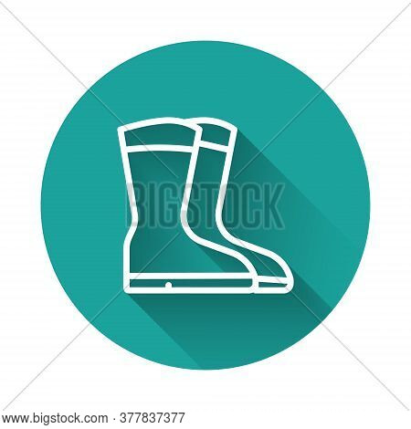 White Line Fishing Boots Icon Isolated With Long Shadow. Waterproof Rubber Boot. Gumboots For Rainy
