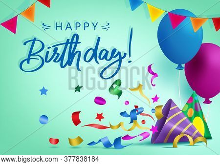 Happy Birthday Vector Background Banner Design. Happy Birthday Greeting Text For Kids Party Celebrat