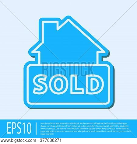 Blue Line Hanging Sign With Text Sold Icon Isolated On Grey Background. Sold Sticker. Sold Signboard