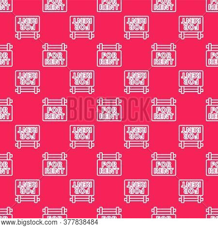 White Line Hanging Sign With Text For Rent Icon Isolated Seamless Pattern On Red Background. Signboa