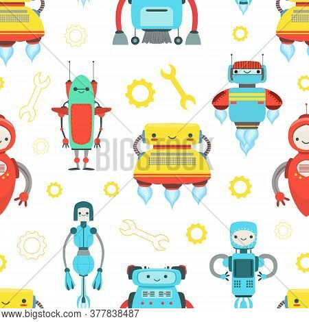 Artificial Intelligence, Robotic Technology Seamless Pattern With Cute Friendly Android Robots, Desi