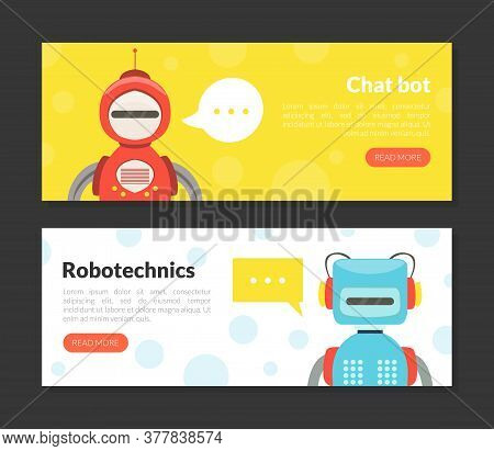 Chat Bot, Robotechnics Landing Page Templates Set, Cute Friendly Android Robots, Artificial Intellig