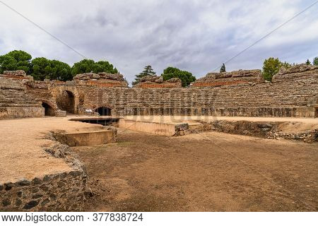 Merida, Spain - November 04, 2019: Roman Amphitheatre In Merida, Augusta Emerita In Extremadura, Spa