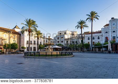 Merida, Spain - November 05, 2019: Square Of Spain, Plaza De Espana With The Town Hall At Background